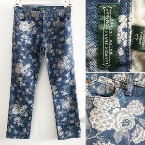 🌿Lauren Jeans Co. petite floral garden denim jean